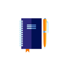 flat personal organizer with pen vector image