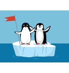 Funny emperor penguins on arctic glacier with flag vector