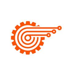 Gear technology logo abstract tech icon vector