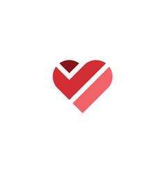 geometric heart symbol logo design element vector image