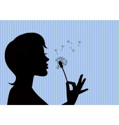 girl blowing on a dandelion vector image