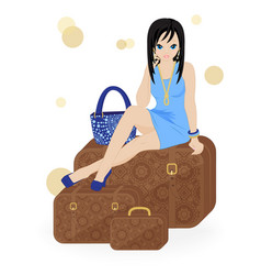 girl traveler vector image