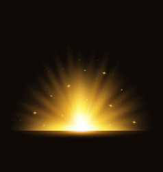 golden light rising up exploding flash star burst vector image
