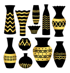 Greek ancient bowls and vases with golden patterns vector