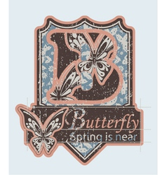 Grunge label with butterflies vector