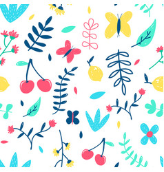 hand drawing spring seamless vector image