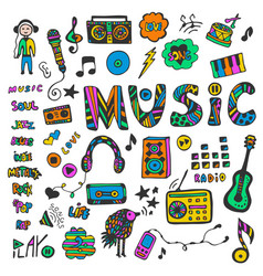 Hand-drawn collection with music doodles colorful vector