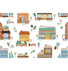hand drawn seamless pattern with different cafe vector image