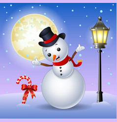 happy snowman with candy cane and lamppost vector image
