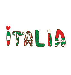 italia doodle lettering hand-lettered print vector image