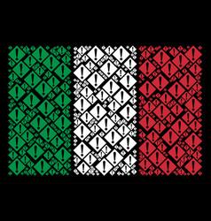 Italy flag mosaic of warning items vector