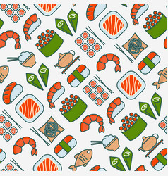 japanese food seamless pattern with thin line icon vector image