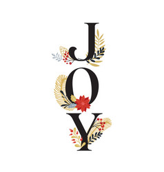 joy merry christmas card with lettering on vector image