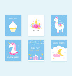 Kids slumber and birthday party invites unicorn vector