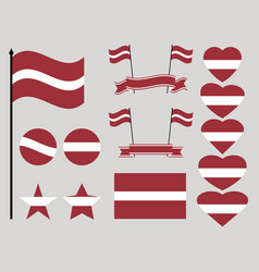 latvia flag set collection of symbols heart vector image