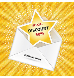 Letter with discount notification vector
