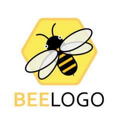 logo a bee on a honeycomb stylized logo with a vector image