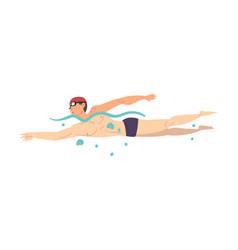 Male athlete in swimming pool guy in swimwear vector