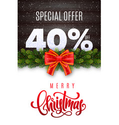 merry christmas holiday sale 40 percent off vector image