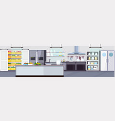 Modern commercial restaurant kitchen interior with vector