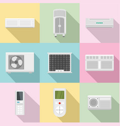 monitoring equipment icons set flat style vector image