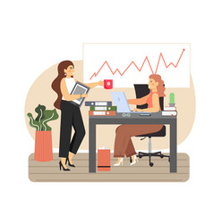 office scene with modern workplace business women vector image