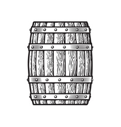 old wooden barrel in vintage engraving style vector image
