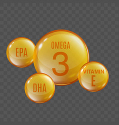 omega 3 oil - round capsule sphere with small epa vector image