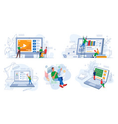 online distant education and work e-learning set vector image