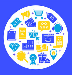 Online shop round concept banner in flat style vector