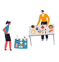 people selling kitchenware on flea market sale vector image