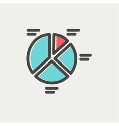 Pie chart thin line icon vector