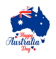 Poster on white background happy australia vector