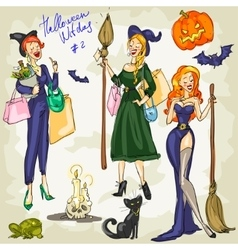 PrintHalloween Witches - 1 Hand drawn collection vector image