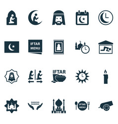 Ramadan icons set with rug candle azan human vector