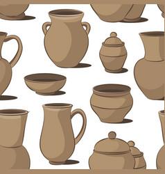 Rustic ceramic utensils pattern vector