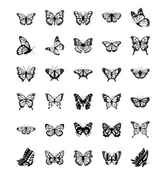 Set butterfly solid icons vector