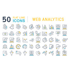 set line icons web analytics vector image