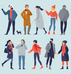 Set winter people character vector