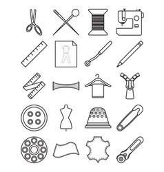 sewing icons line vector image