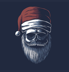 skull wearing a santa hat for christmas vector image
