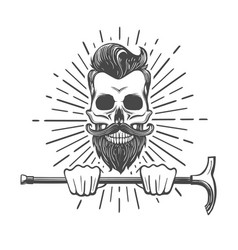 Skull with beard and walking stick vector