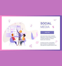 social media interface wireframe develop banner vector image