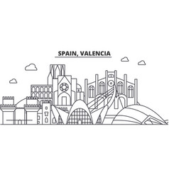 spain valencia architecture line skyline vector image