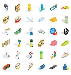 Sport victory icons set isometric style vector