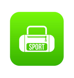 Sports bag icon digital green vector
