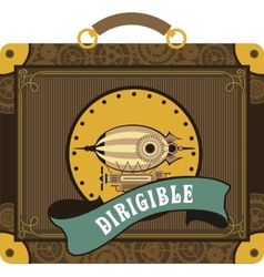 Steampunk dirigible vector image