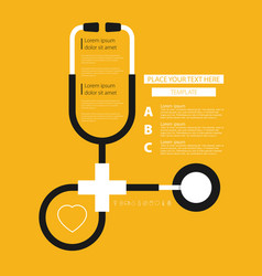 Stethoscope health care flat with text vector