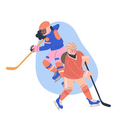 Teenager girls playing ice hockey game vector