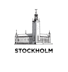 The sketch of Stockholm city hall vector image
